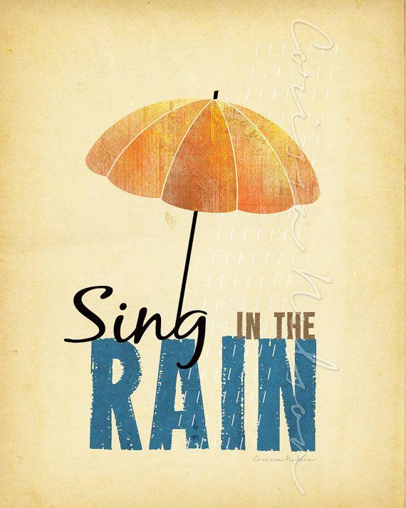 Sing in the Rain Umbrella Art Illustration  by CorissaNelsonArt, $5.00