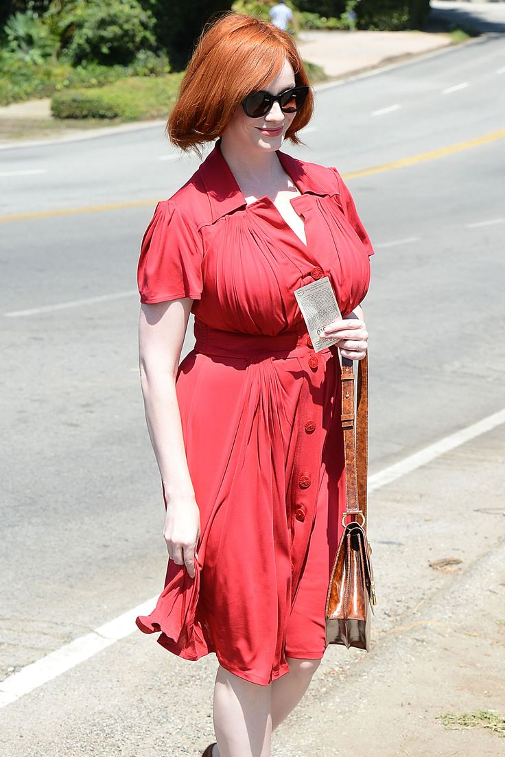 Christina Hendricks  in Red While in Los Angeles. Love this ruffled dress, so wearable