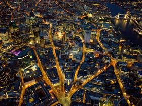 Proshots - Aerial View of London at Night, England - Professional Photos