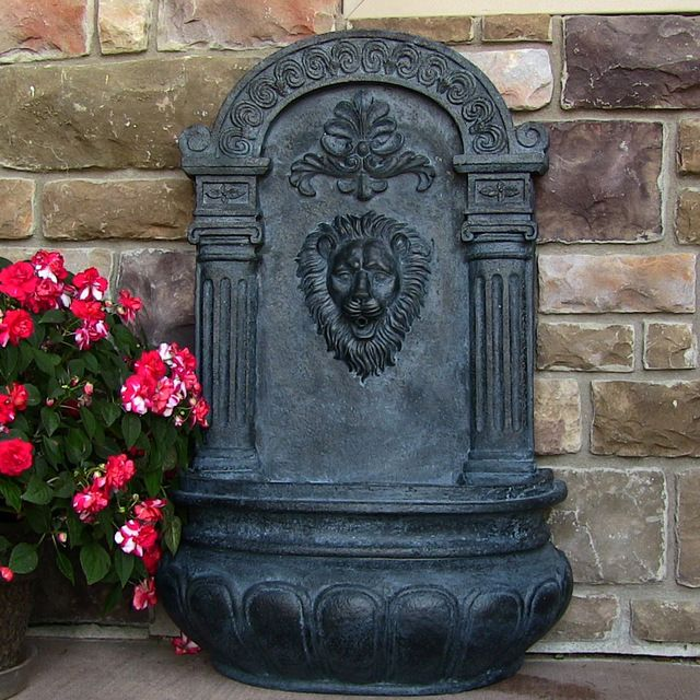 Imperial Lion Outdoor Solar On Demand Wall Fountain, Lead traditional-outdoor-fountains