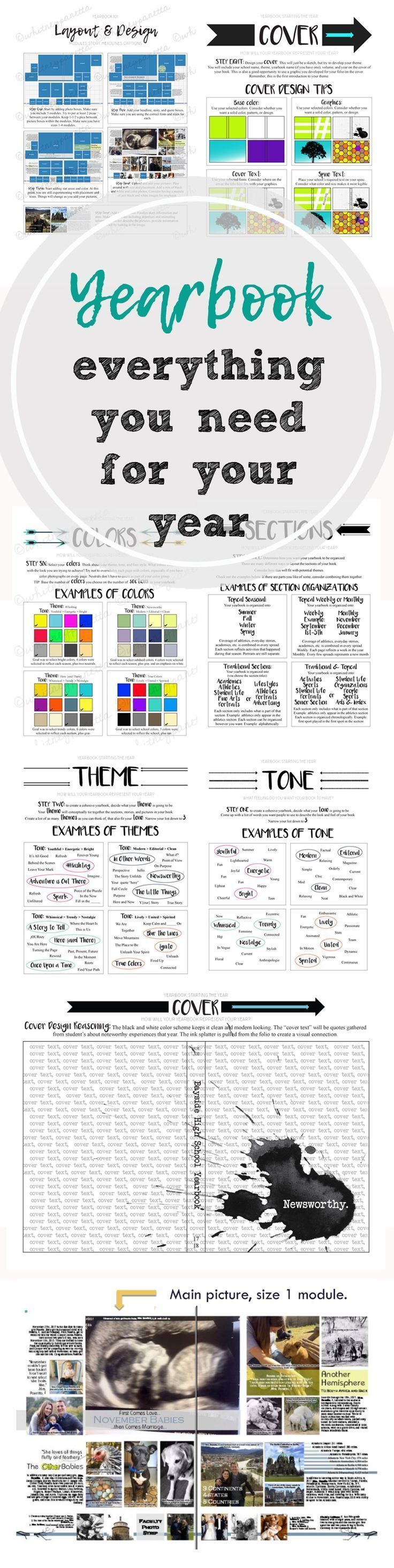 Everything you need to help your staff design, plan, and layout their yearbook. Includes theme, layout, cover design, font selection, tone, and more. Lesson plans, rubrics, handouts, activities, and a timeline to help you plan your year.