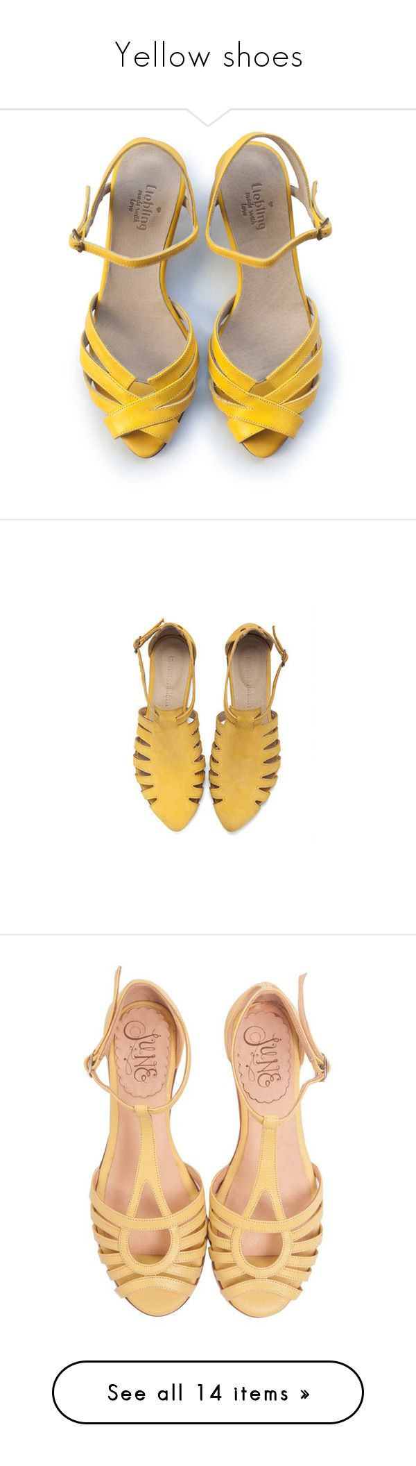 """Yellow shoes"" by rastaress-motso ❤ liked on Polyvore featuring shoes, sandals, wide shoes, leather heeled sandals, mid heel sandals, wide width sandals, mid-heel shoes, flats, yellow and silver"