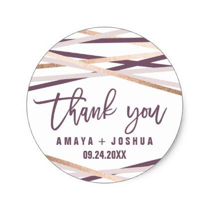 Purple Blush & Rose Gold Streamers Thank You Favor Classic Round Sticker - bridal gifts bride wedding marriage
