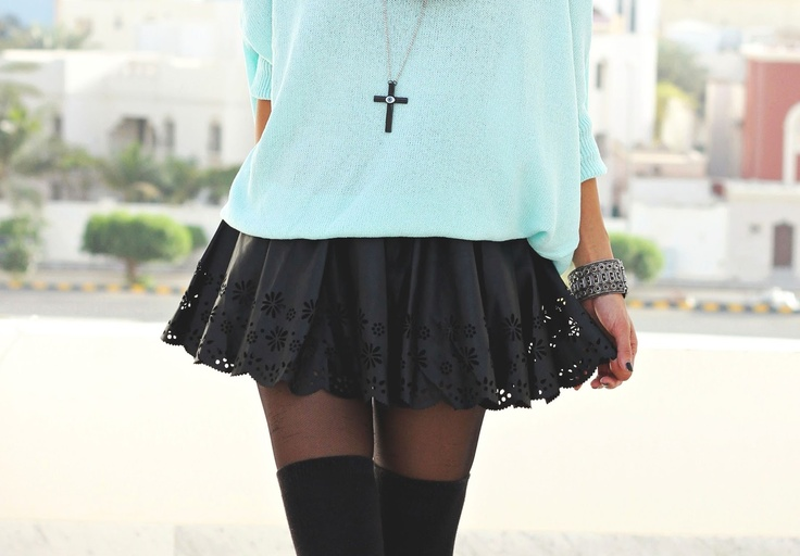 Black leather skater skirt with tights