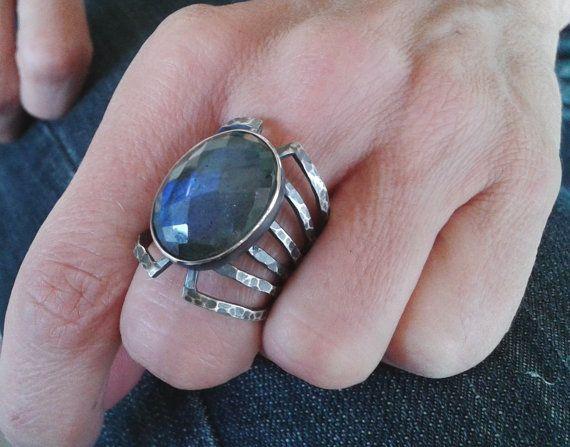 Silver Labradorite ring oval labradorite by Jewelartla on Etsy
