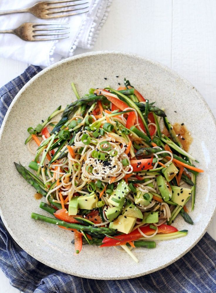 Miso Soba Noodle Salad with Asparagus, Zucchini and Avocado