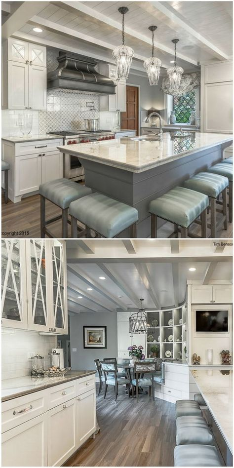 The modern island is the family gathering spot in this incredible remodel project.