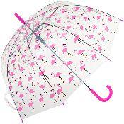 Susino Clear Dome Umbrella - Flamingo