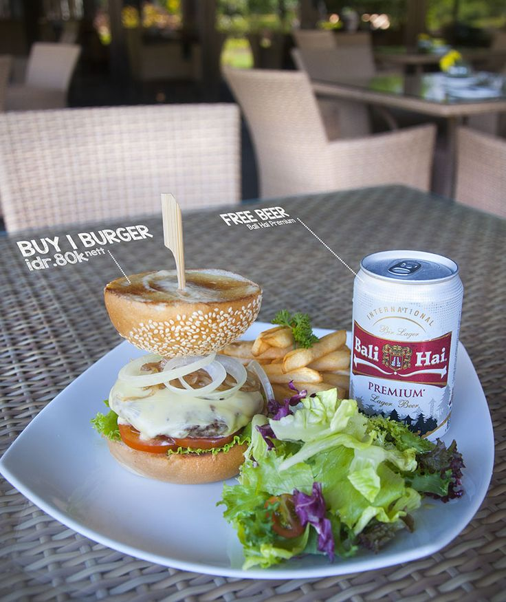Buy 1 Cheese Burger get 1 Bali Hai Beer For FREE! only for IDR. 80K