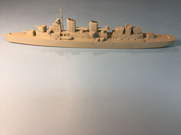 Wood ship ID model  Fletcher Class Destroyer Scale 1:300. Started making these as I read my way through S.E. Morrison's naval history of WWII.