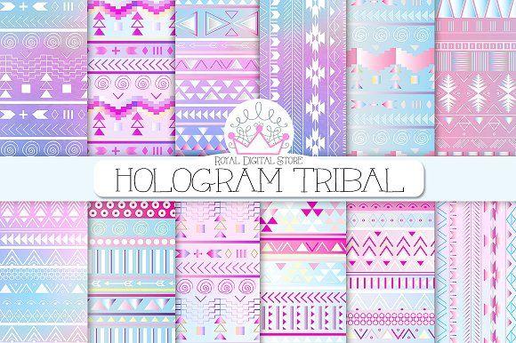 TRIBAL digital paper by RoyalDigitalStore on @creativemarket #tribal #hologram #watercolor #digitalpaper #pink #aztec #plannerstickers #scrapbookpaper