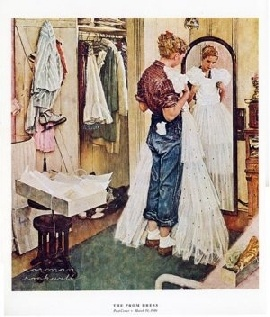 """This is one of my favorite Norman Rockwell pictures entitled """"Prom Dress"""""""