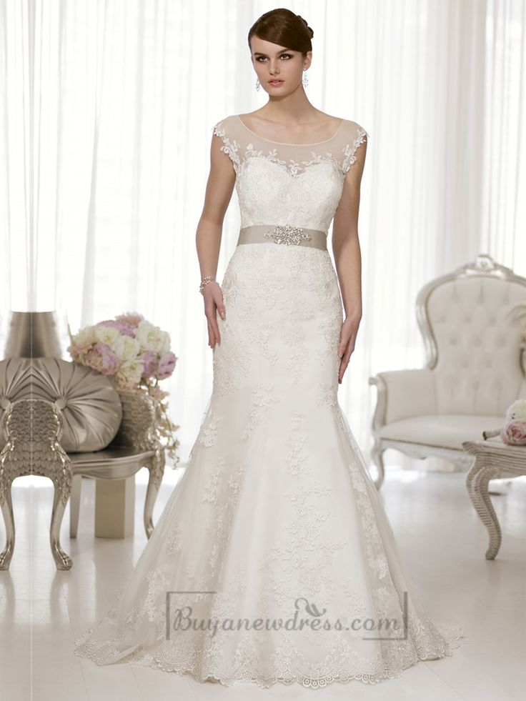 Cap Sleeves Fit and Flare Illusion Boat Neckline & Back Wedding Dress