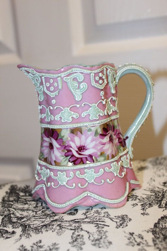 Pink Antique Moriage Creamer, Lilies, gold Oriental, Chinese, Nippon