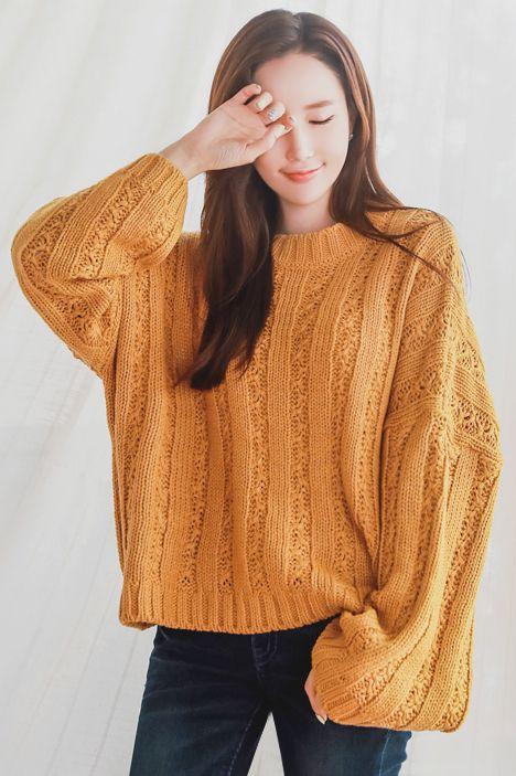 StyleOnme_Wide Sleeve Loose Fit Knit Sweater #mustard #yellow #loosefit #oversized #sweater #koreanfashion #stylish #falltrend