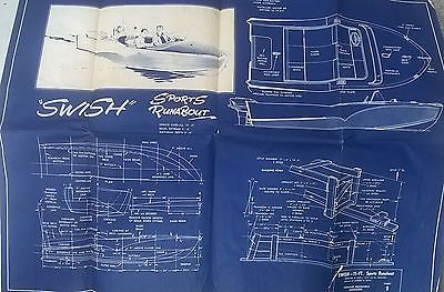 Vintage 15 foot Swish Sports Runabout Boat 1959 Blueprint Plan 4 sheets Mech Ill