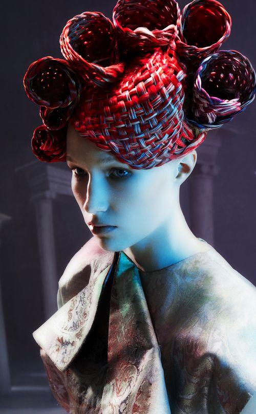 Avant garde hair by Skyler McDonald. Make Up by Irena Rogers. Photographer Alessandro Cecchini.
