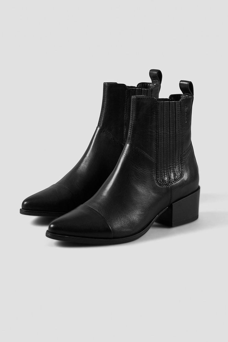 Marja Black Leather Boots Best Ankle Boots Boots Chelsea Ankle Boots