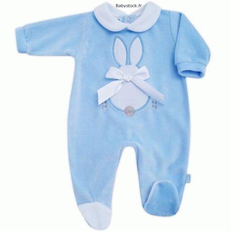 7050a8976f4f7 Pyjama dors bien pour bébé garçon en velours bleu ciel brodé Lapin avec  nœud à 13,99 €