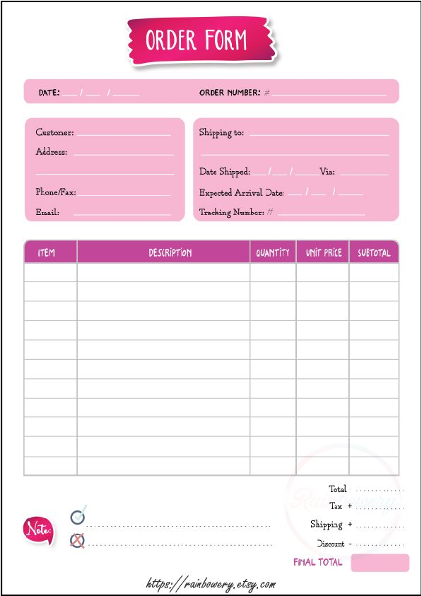 Order Form Template Printable Small Business Order Form Etsy In 2021 Printable Invoice Templates Printable Free Template Printable