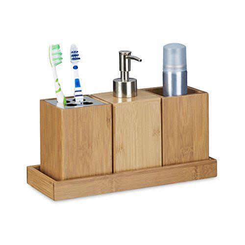 Relaxdays Bad Accessoires Set 4 Teilig, Bambus, Zahnbürstenhalter,  Seifenspender,