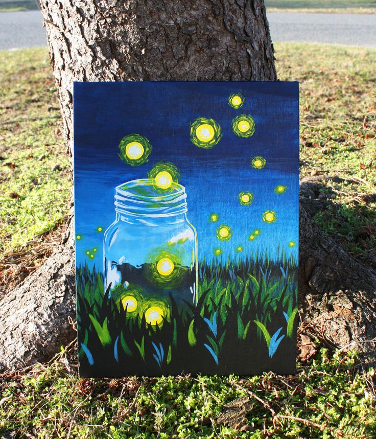 Whimsical Firefly Mason Jar Acrylic Painting on by ArtsyAbsurdity