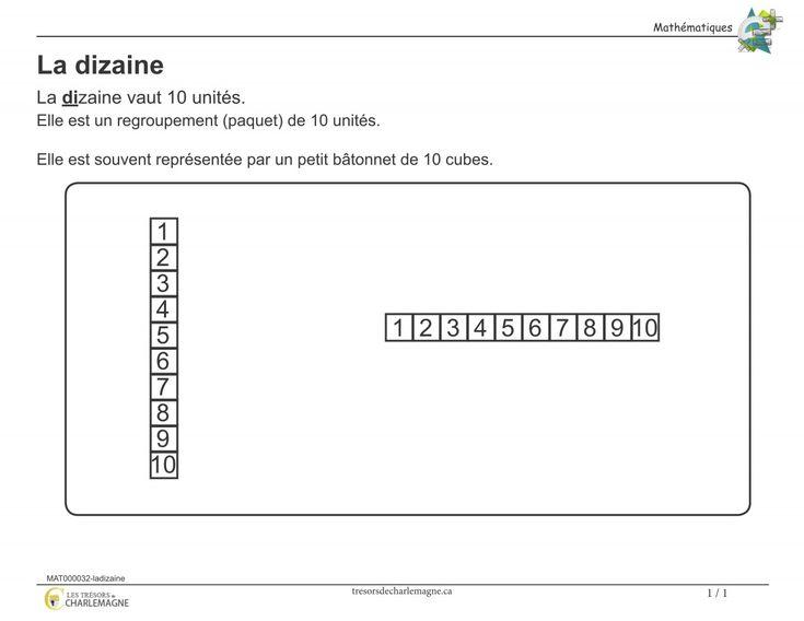Affiche- La dizaine - Les trésors de Charlemagne  Ce document vous servira de référence pour la notion de la dizaine. Vous pouvez l'afficher en classe ou l'inclure dans vos cahiers de notions.  #Affiches #Mathématiques #Arithmétique #Numération