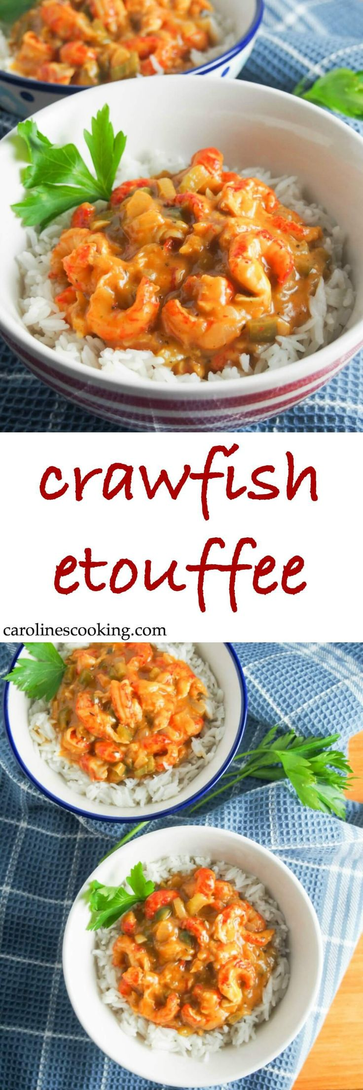 Crawfish etouffee is a classic Cajun stew - this version is lightened up & speeded up a little but still full of fantastic flavors. A comforting seafood stew, it's a delicious dinner whether as part of Mardi Gras celebrations or any time.