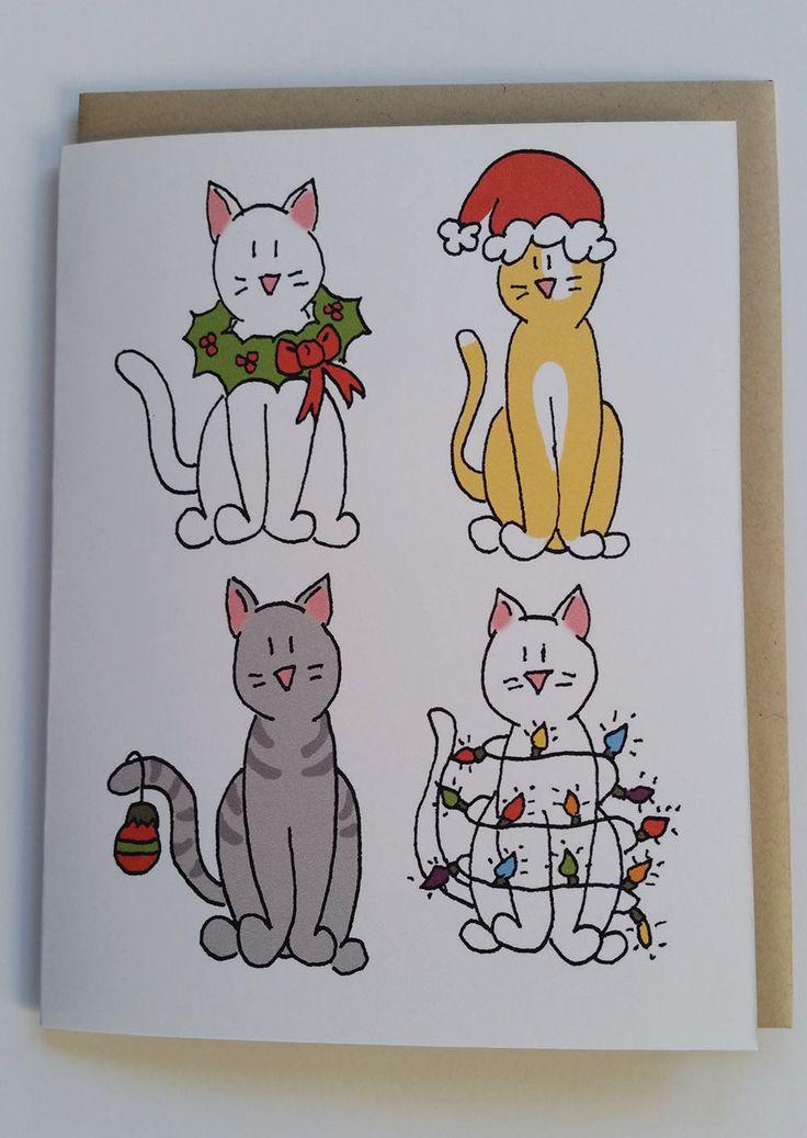 Cat Christmas Card, Animal Christmas Card, Animal Cards by BitterWhimsy on Etsy https://www.etsy.com/listing/256809591/cat-christmas-card-animal-christmas-card