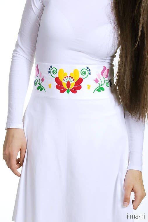 Dámska sukňa biela Folk opasok