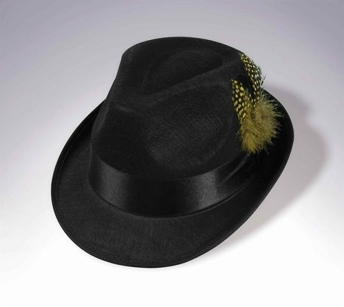 Hip Hop Fedora Hat - This is a funky black hip hop fedora hat. On the left side, stuck in the satin black hat band, is an array of black and orange feathers, including black feather with orange dots. Try wearing it with a black suit and orange shirt. #hat #fedora #yyc #classic #costume