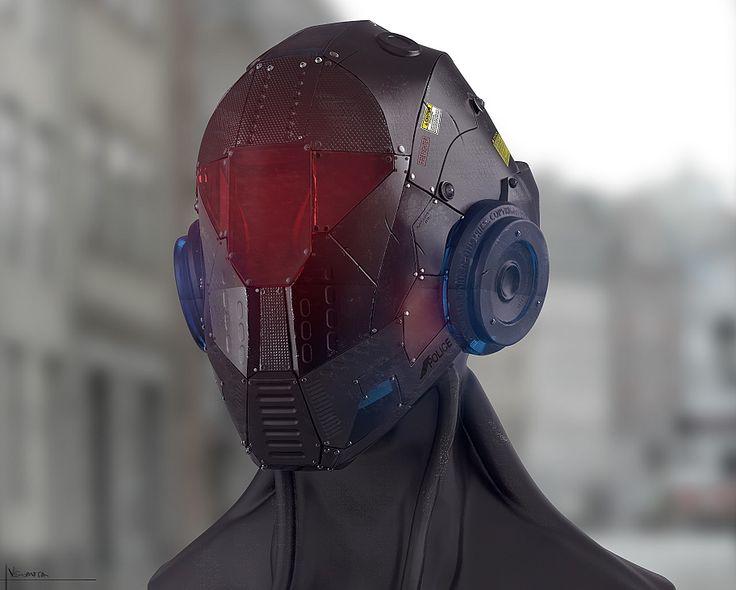 Sci-Fi Cyborg Police head design