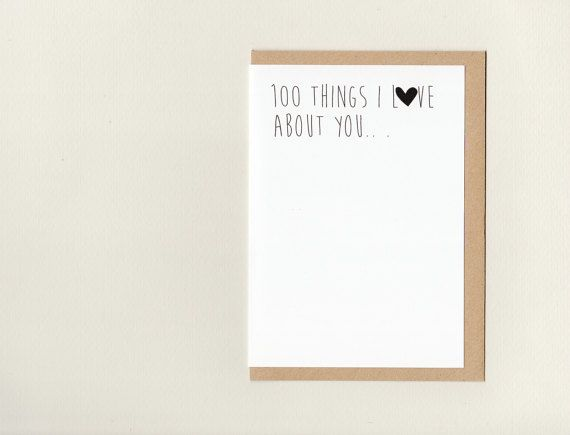 100 THiNGS I LoVE ABoUT YOU . greeting card . art card .