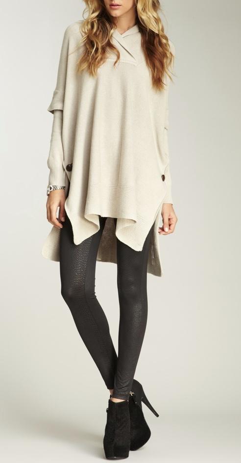 drape sweater + leggings