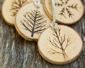 Ornements de Noël de branche arbre - arbres brûlés bois - rustique, naturel et éco - comme on le voit dans la vie à la campagne