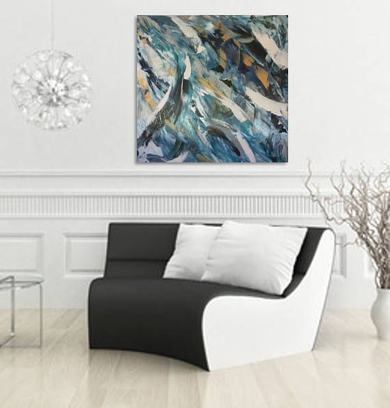 FREE SHIPPING BY COURIER WITHIN AUSTRALLIA  Title: Deep original acrylic abstract.  Size: 36x36 (91.4 x 91.4 cm) - comes ready to hang.  Palette: Prussian blue, South Ocean blue, white, metallic silver, metallic gold.  Edging: Deep edge 1.5 inch (3.81cm) white.  Canvas: Artist quality stretched canvas.  Medium: Artist quality acrylic base coats, medium & paint.  Varnish: Artwork is finished with 2 coats of archival quality varnish which is resistant to humidity, heat, water and uv light. ...
