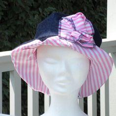 Chapeau d'été femme ou enfant  lin'eva confortable en coton bleu jeans et imprimé marin rose  printemps été 2017