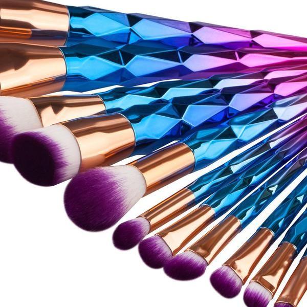 12pcs Unicorn Rainbow Cosmetic Brushes Set #multicolor #makeupbrush #brush #brushset #cosmetics #goodquality #affordable