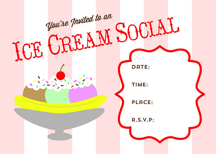 Free Printable Ice Cream Social Invite
