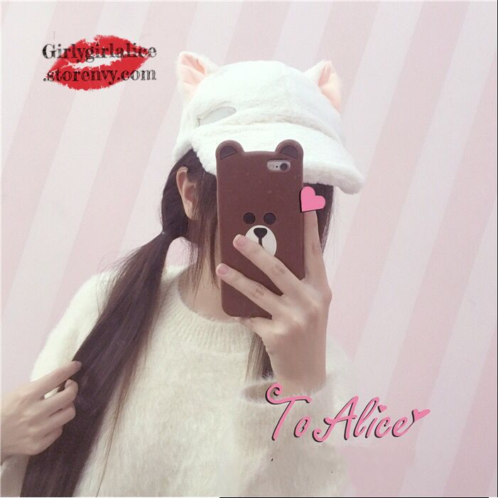 Girly Girl Shirts Plush Hat on Girly Girl の To Alice.Girly Indie Kawaii Cat&Bear&Lop Ear Plush Hat Cute Peak Cap the best choice for you to go out or work !