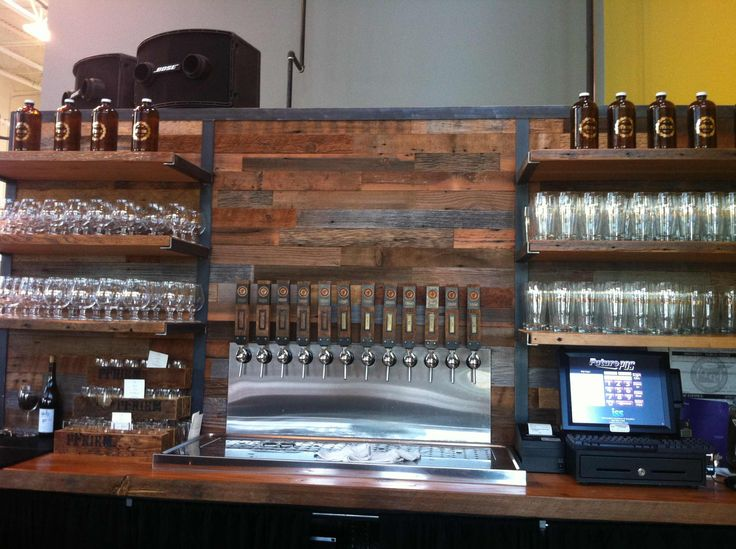 Reclaimed Wood And Metal Wall Shelves: Brewery Bar BAR BACK WALL, SHELVING, METAL-RECLAIMED WOOD