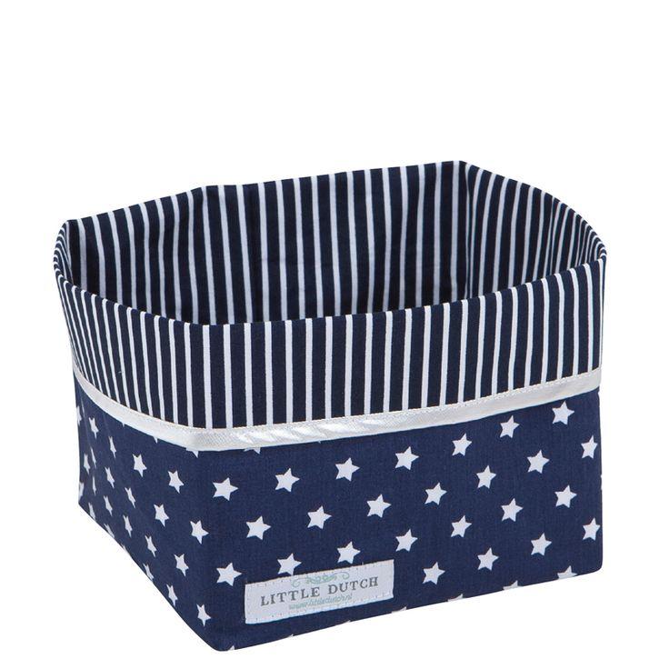 Wickeltischkörbchen blau mit weißen Sternen klein