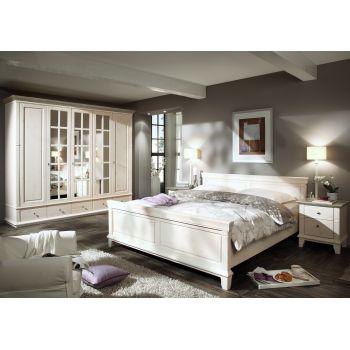 Set Dormitor Georgia complet, confectionat din lemn masiv de pin, de culoare alba