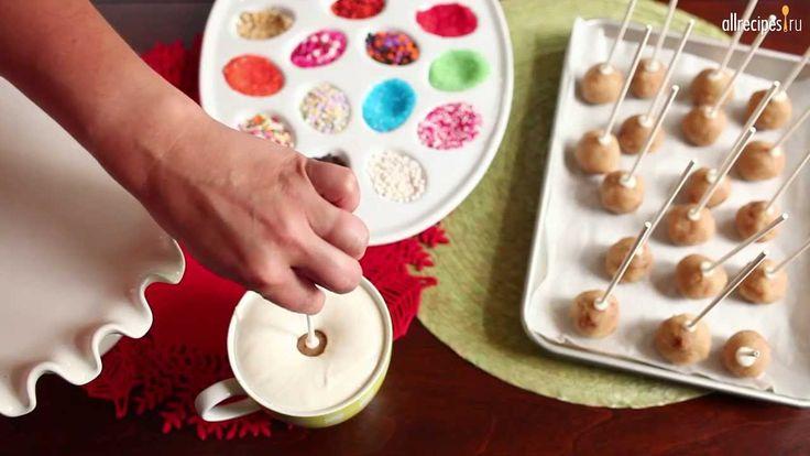 Кейк попс - Шарики из бисквита на палочке (Cake pops): видео-рецепт