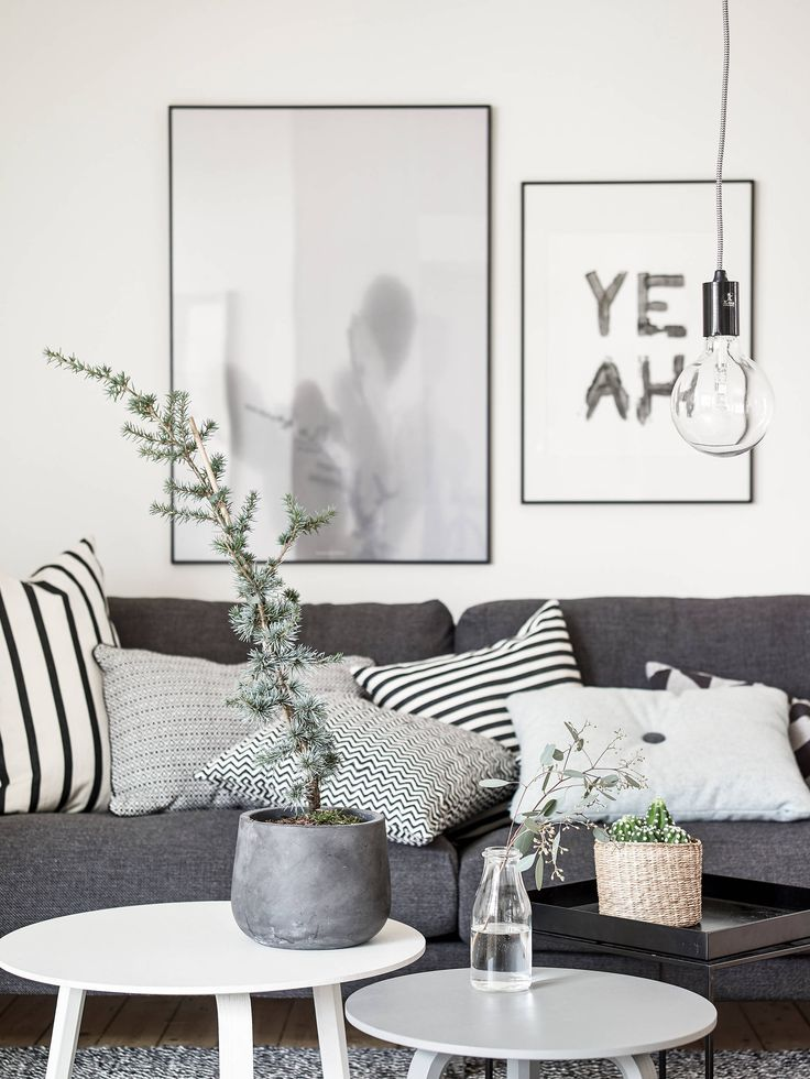 monochrome living room, collection of black and white cushions: