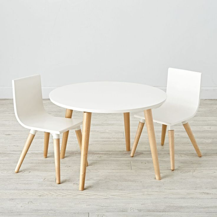 This Toddler Table and Chairs set is perfectly scaled down for little ones. And, while it may be smaller in size, it's still big on style. Designed by Royce Nelson, it features a two-tone construction of natural birch and solid white, giving it a neutral aesthetic that can coordinate anywhere.