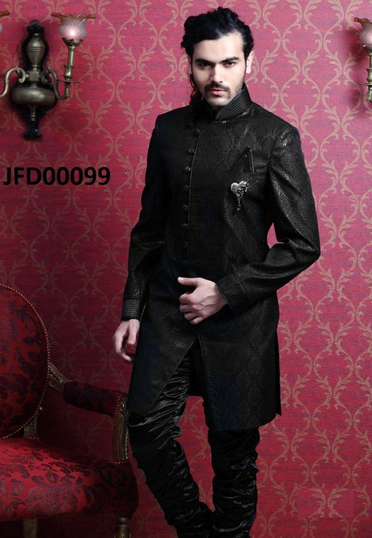 Black Jacquard Embroidered Sherwani with Churidar  Itemcode: JFD00099  Price:  US$ 206.92  #Shop Now @ http://www.jivafashion.com/mens/black-jacquard-embroidered-sherwani-with-churidar/code=JFD00099