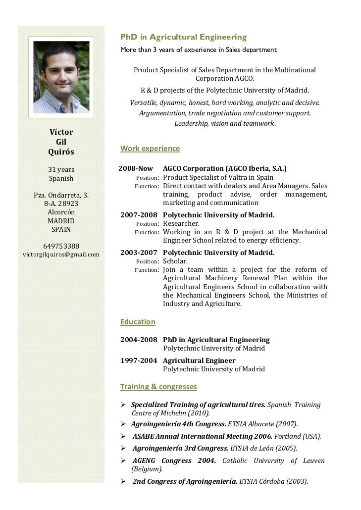 english cv - Resume English Template