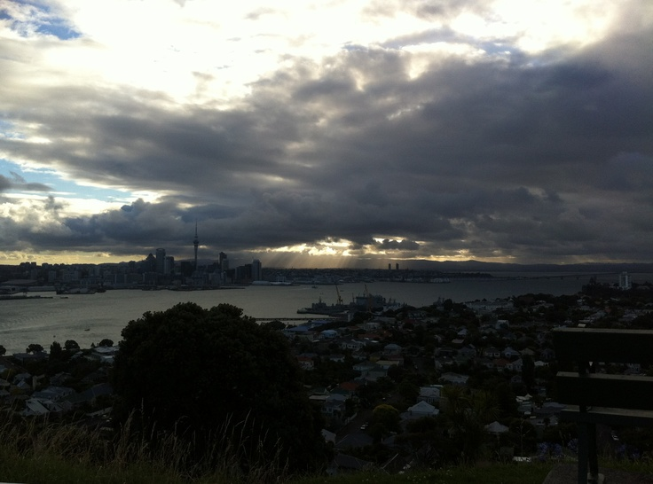 The sun sets on Auckland city, NZ