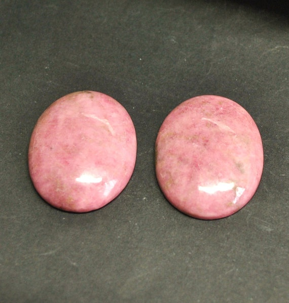 Natural Rhodonite Oval Cabochons  Match Pair  40.0 x 30.0 mm by AliveGems, $11.00